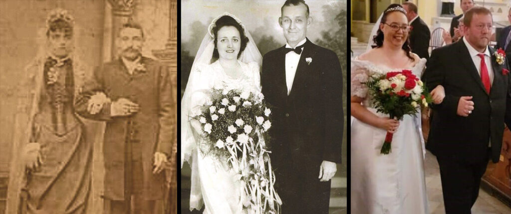 Walking up Holy Cross aisle to marry – 134 years after her great-grandparents