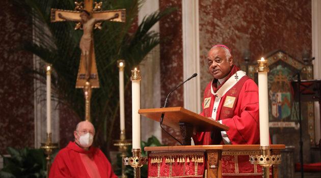 Washington Archbishop Wilton D. Gregory preaches his homily.