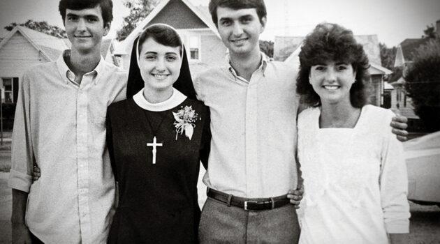 From left, the Lewandowski siblings: Joseph, Sister Mary Francis, Bruce and Paula in 1987. (Courtesy Lewandowski family)
