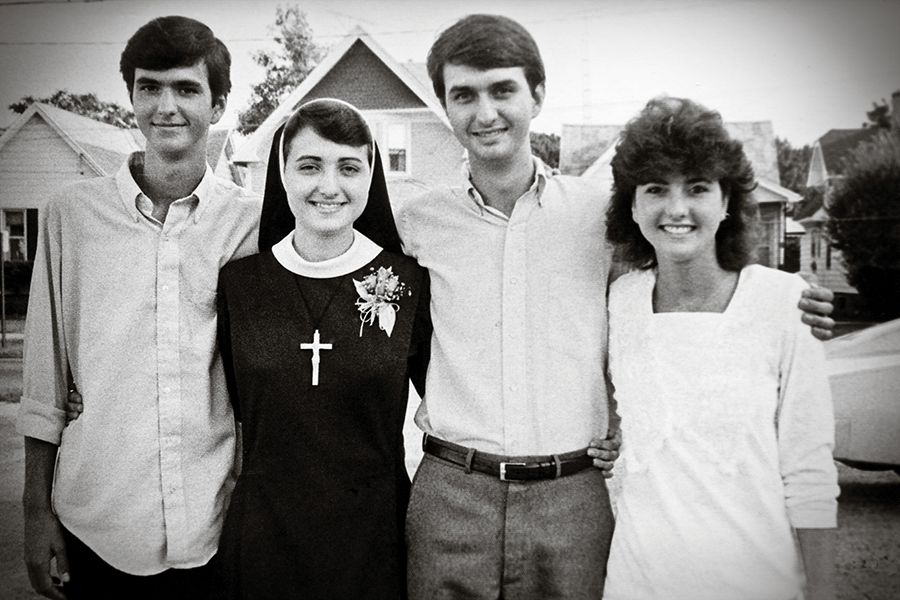 From left, the Lewandowski siblings: Joseph, Sister Mary Francis, Bruce and Paula in 1987. (Courtesy Lewandowski family)