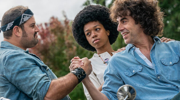 Sacha Baron Cohen (right) stars as Abbie Hoffman in The Trail of the Chicago 7.