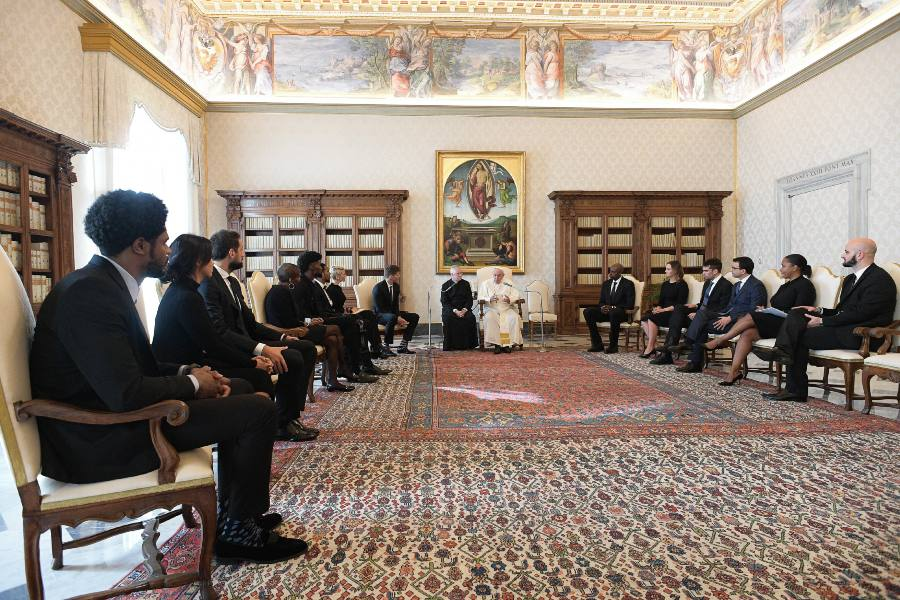 Pope meets with NBA players' union delegation at the Vatican