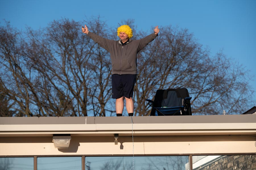 IHM pastor takes to roof of parish school in fundraiser for Blessed Mother statue