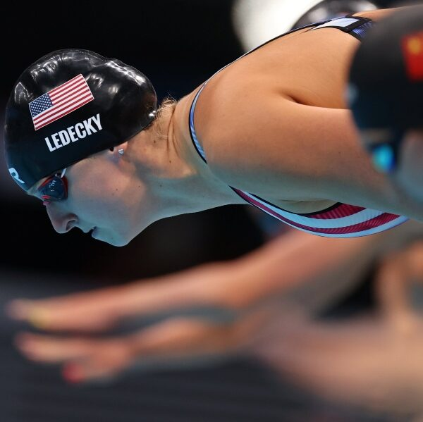 Ledecky gives shout-out to her grandparents after winning Olympic gold